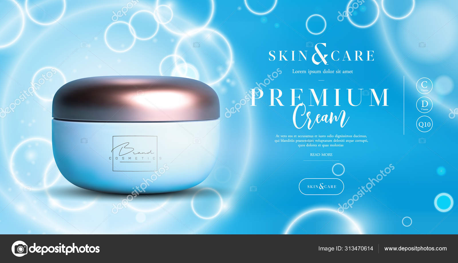 Elegant Cosmetic Background Cream Jar For Skin Care Products Luxury Facial Cream Beautiful Flyer Or Banner Design For Cosmetic Ads Blue Cosmetic Premium Cream Template Makeup Products Brand Stock Vector C