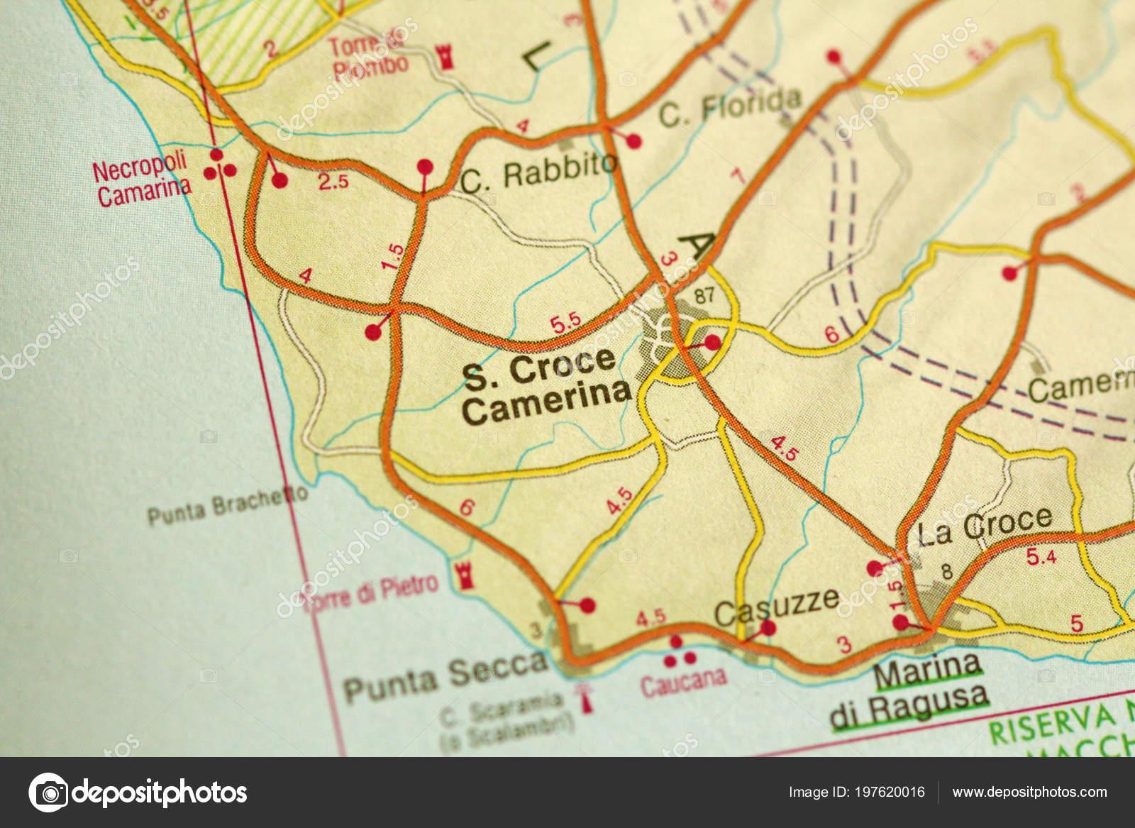 Croce Camerina Map Islands Sicily Italy — Stock Photo ...