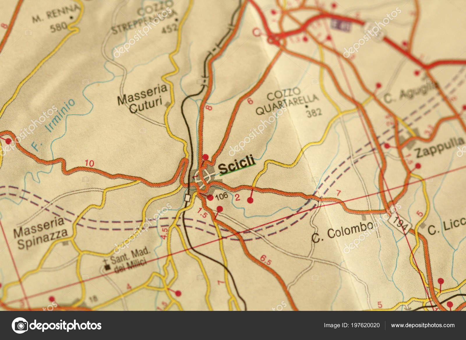 Scicli Map Islands Sicily Italy — Stock Photo ...