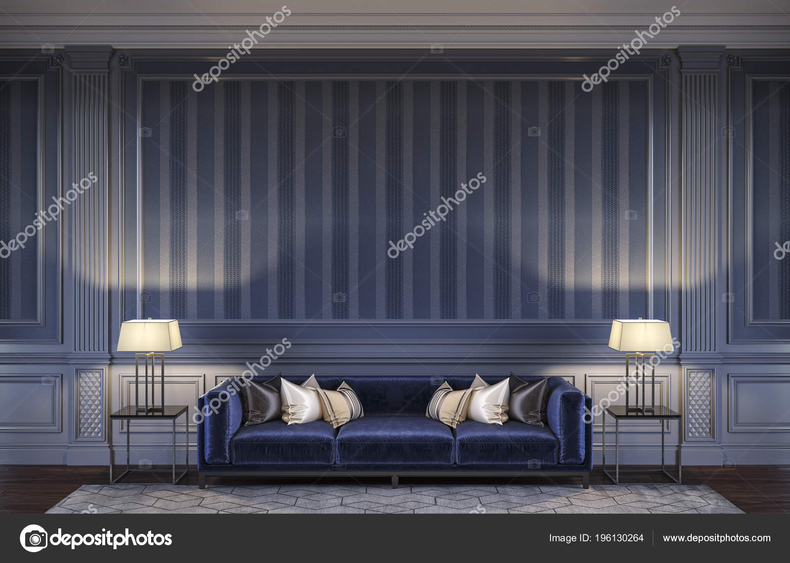 Contemporary Interior In Blue Tones With A Sofa And Striped