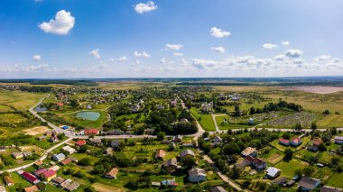 Aerial drone view of traditional Ukrainian village. Countryside it the west of Ukraine