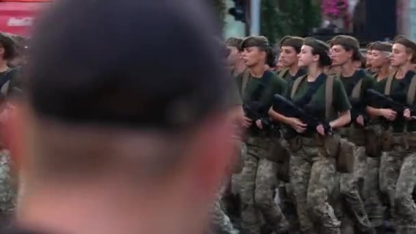 Military girls battalion. Training for military parade in honor of Independence day of Ukraine. KYIV, UKRAINE - AUGUST 20, 2018