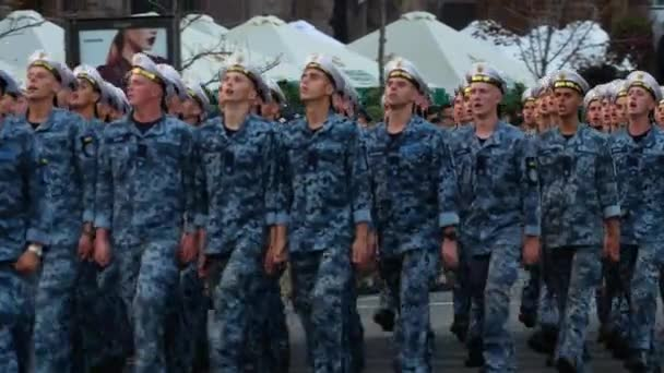 Military sailors troop. Training for military parade in honor of Independence day of Ukraine. KYIV, UKRAINE - AUGUST 20, 2018