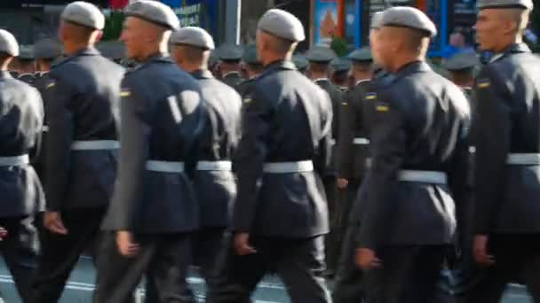 Organized military formation. Military parade in honor of Independence day of Ukraine. KYIV, UKRAINE - AUGUST 24, 2018