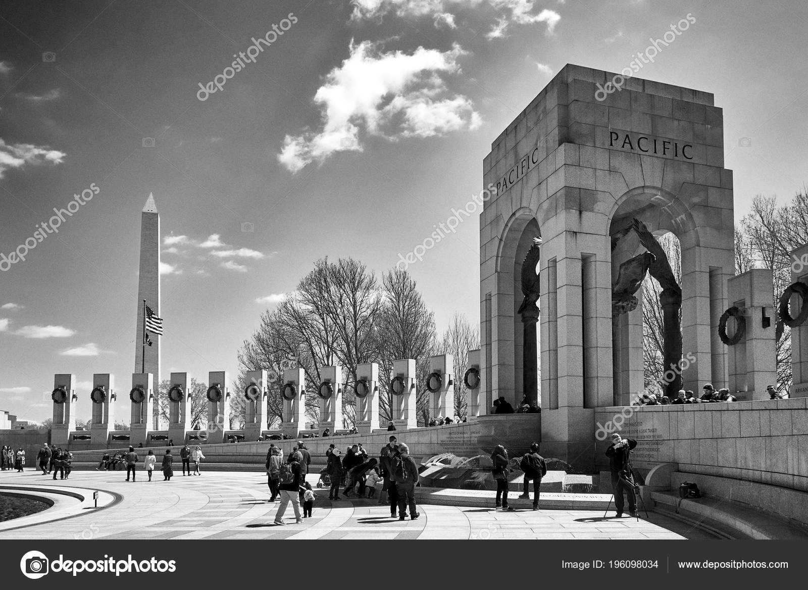 Washington dc usa april 2018 world world ii memorial pacific section in black and white each pillar represents a state photo by