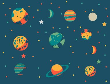 Cartoon Style Colorful Planets Set