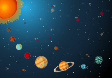 Solar System Planets with Sun and Orbits