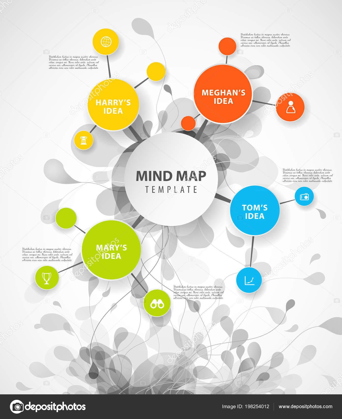 Plantilla Mapa Vector Cuenta Con Círculos Colores Lugar Para Texto ...