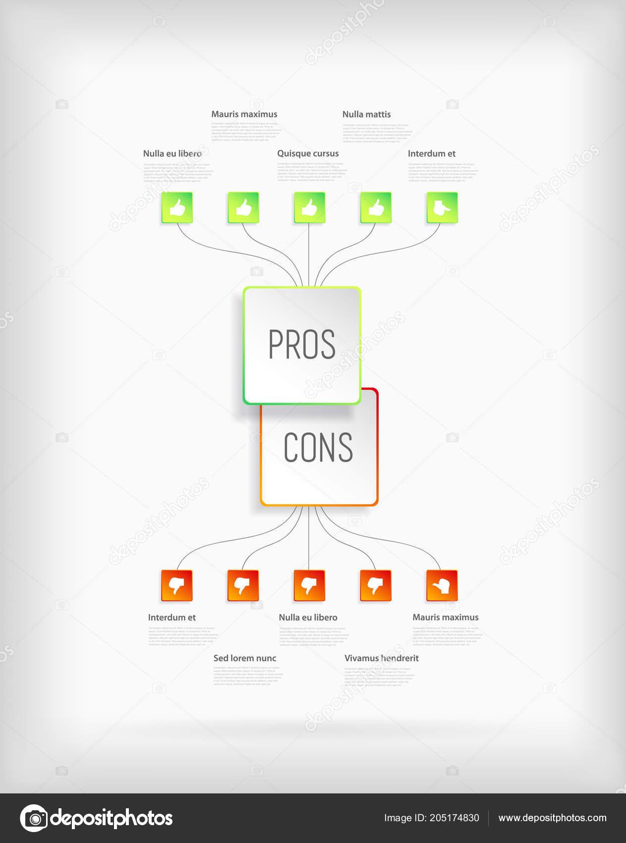 pros cons comparison vector template ストックベクター kormi