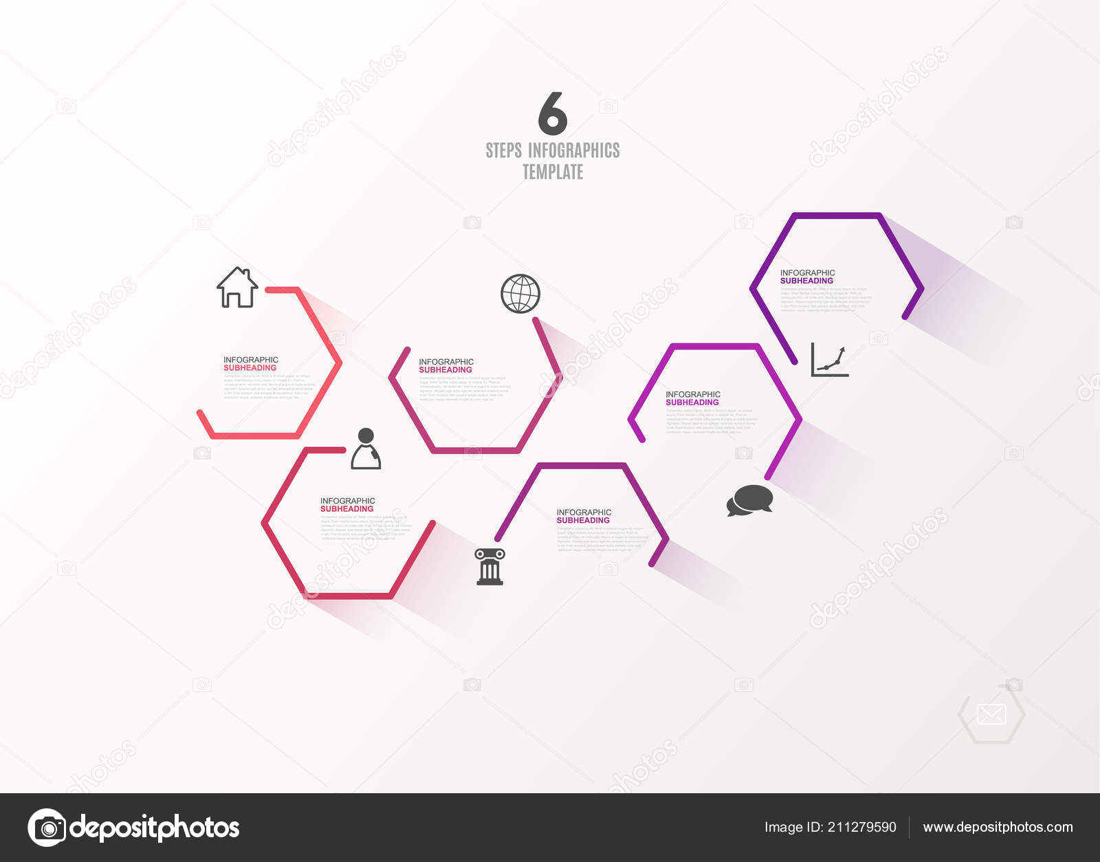 Six Colorful Hexagon Vector Progress Steps Illustration Icons Place