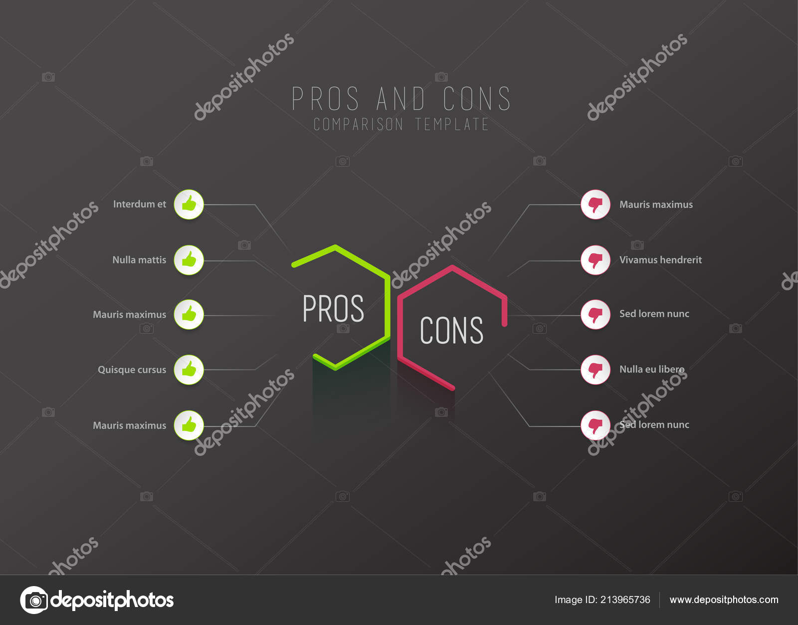 Pros Cons Comparison Vector Template Green Pink Hexagons Circles Place Stock