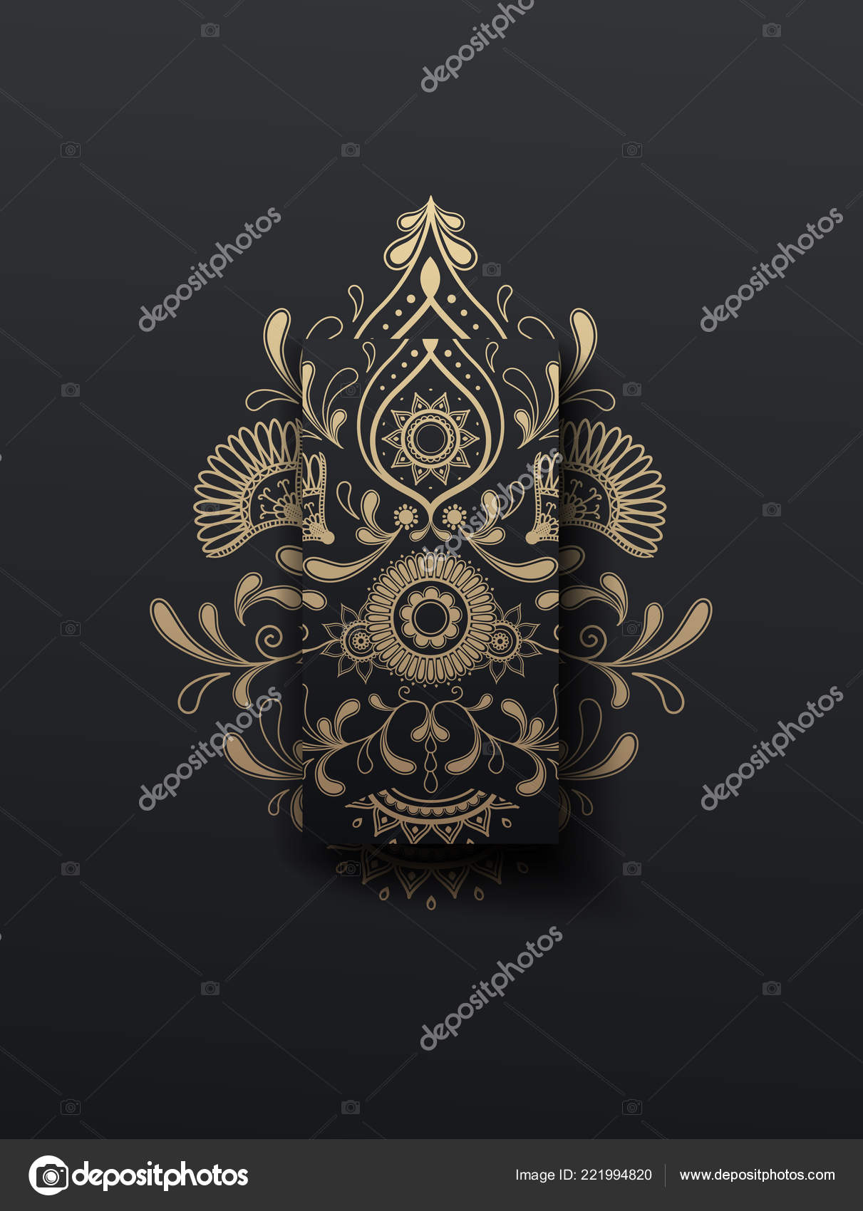 Golden Floral Paisley Vector Illustrator Ornament Mobile Phone