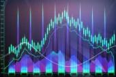 Fotografie Abstraktní zářící forex graf tapeta. Investice, finance a obchodní koncepce. 3D vykreslování