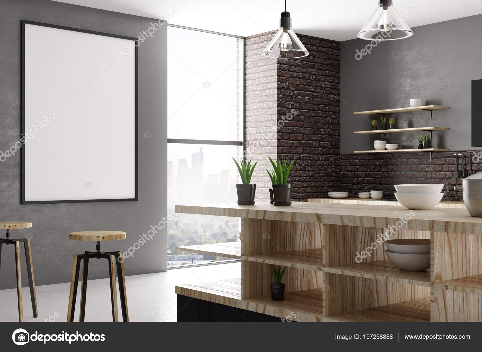 Modernes loft küche interieur mit leeren poster wand möbel und