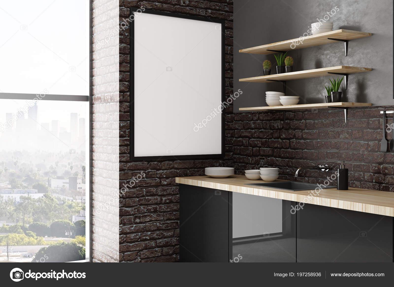 Intérieur Cuisine Loft Contemporain Avec Vide Affiche Sur Mur ...