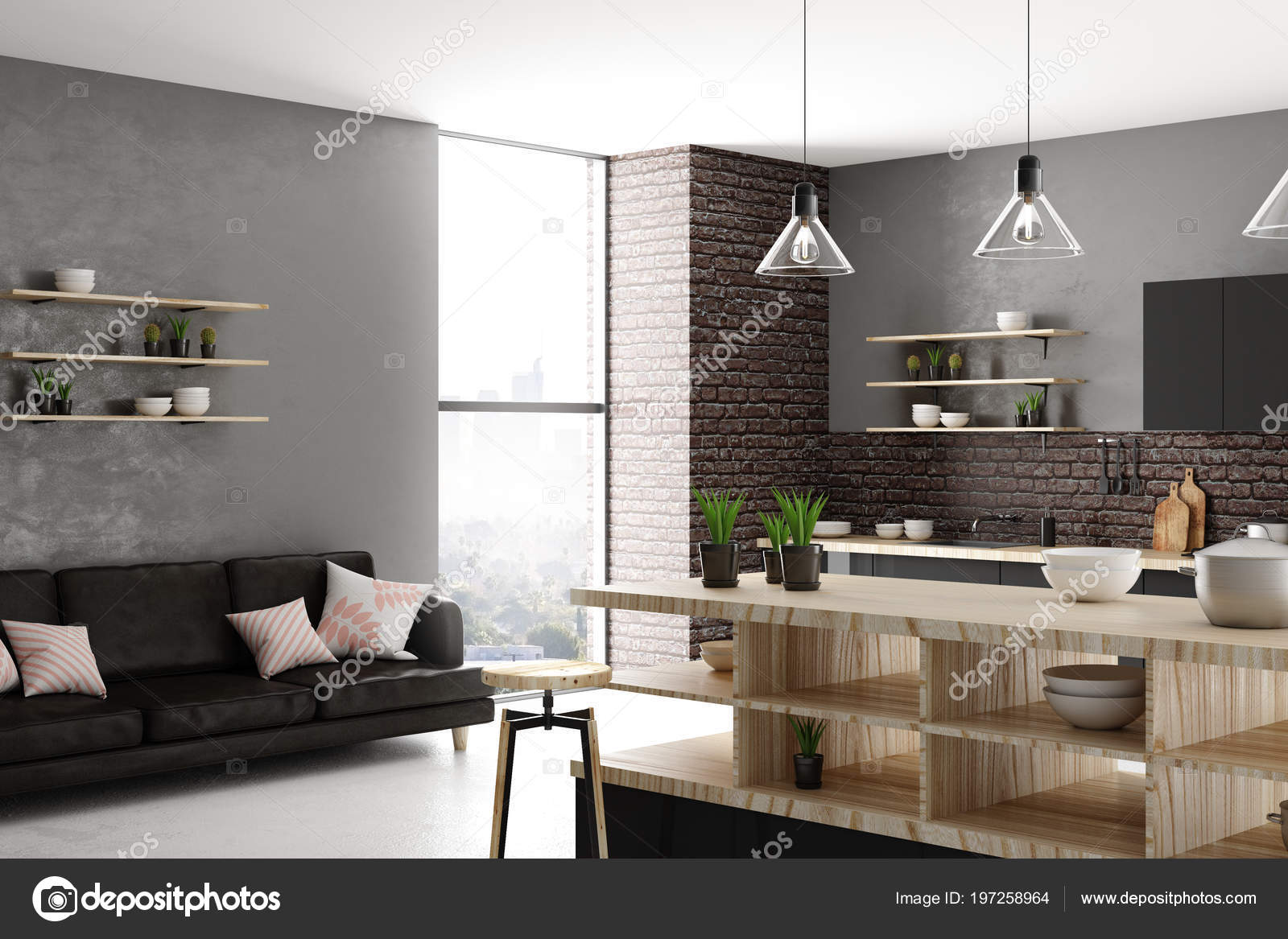 Daglicht Je Keuken : Stijlvolle lichte loft keuken interieur met meubels apparaten