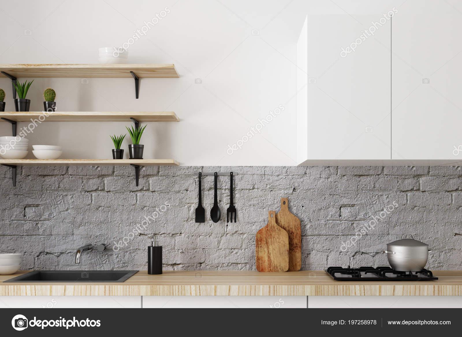 Près Comptoir Cuisine Blanc Moderne Sur Mur Briques Notion Style ...