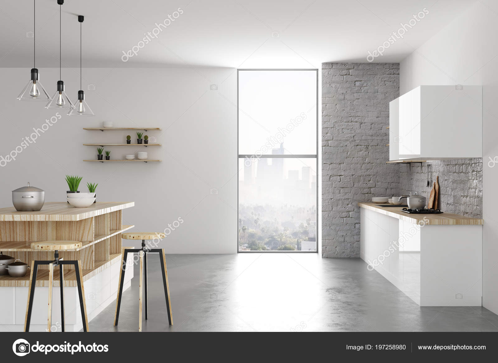 Daglicht Je Keuken : Hedendaagse lichte loft keuken interieur met meubels apparaten
