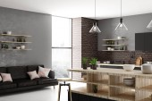 Stylish light loft kitchen interior with furniture, appliances and daylight. Design and style concept. 3D Rendering