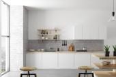 Fotografie Čisté vzdušností kuchyň interiér s nábytkem, spotřebiči a denní světlo. Koncept designu a stylu. 3D vykreslování