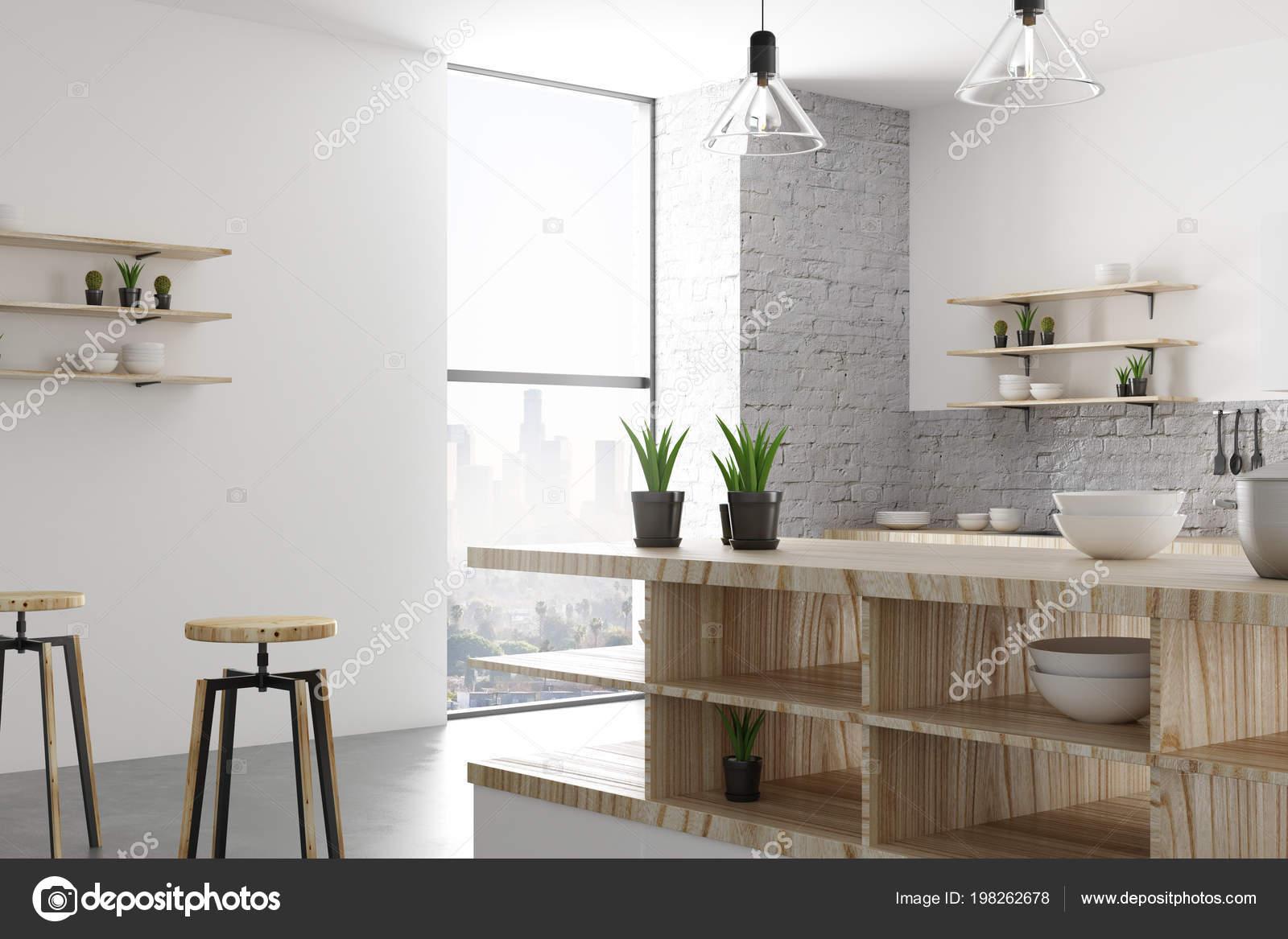 Witte Lichte Loft Keuken Interieur Met Meubels Apparaten Daglicht ...