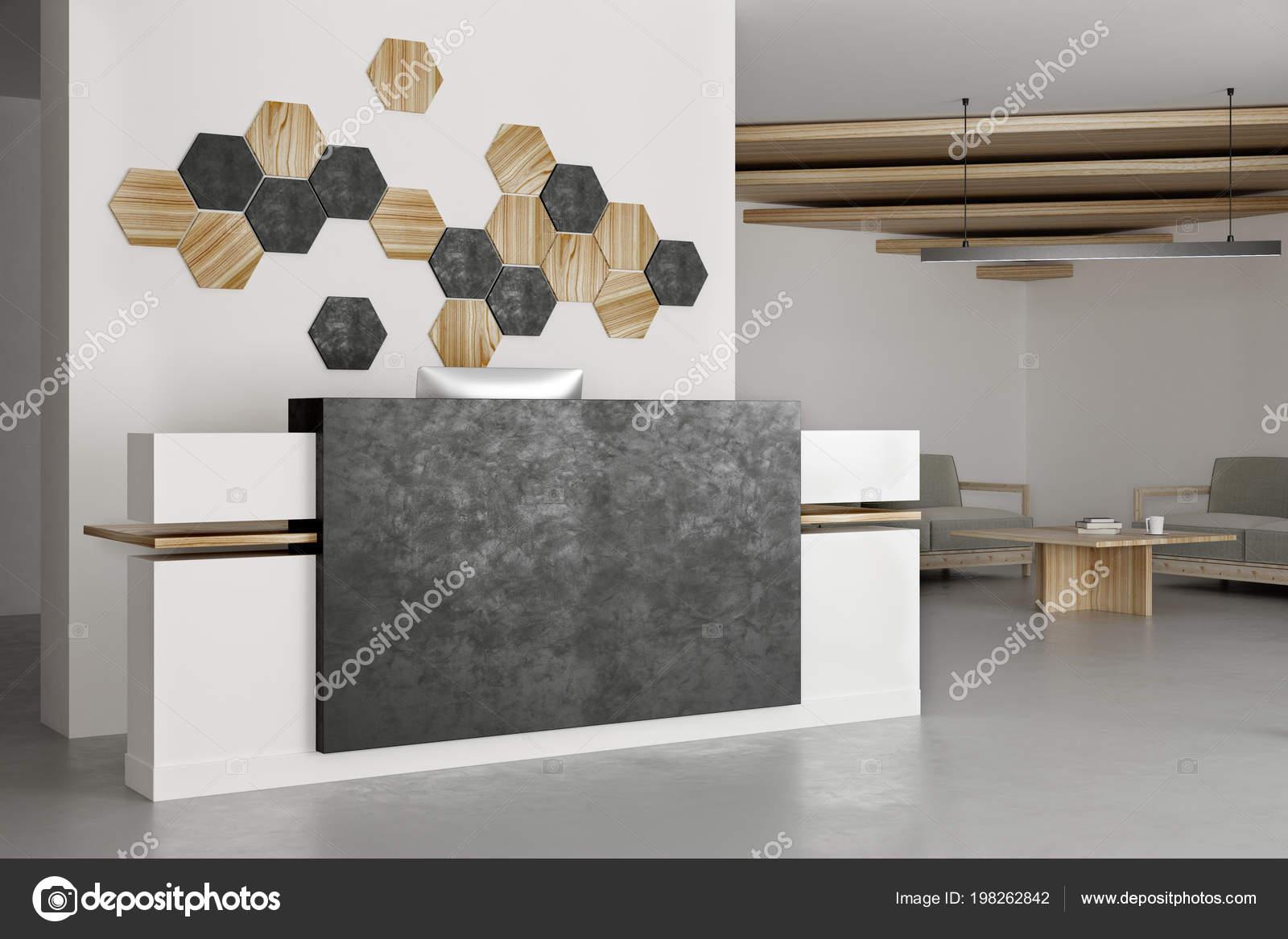 Interieur Propre Bureau Avec Reception Decor Mosaique Sur Mur Beton