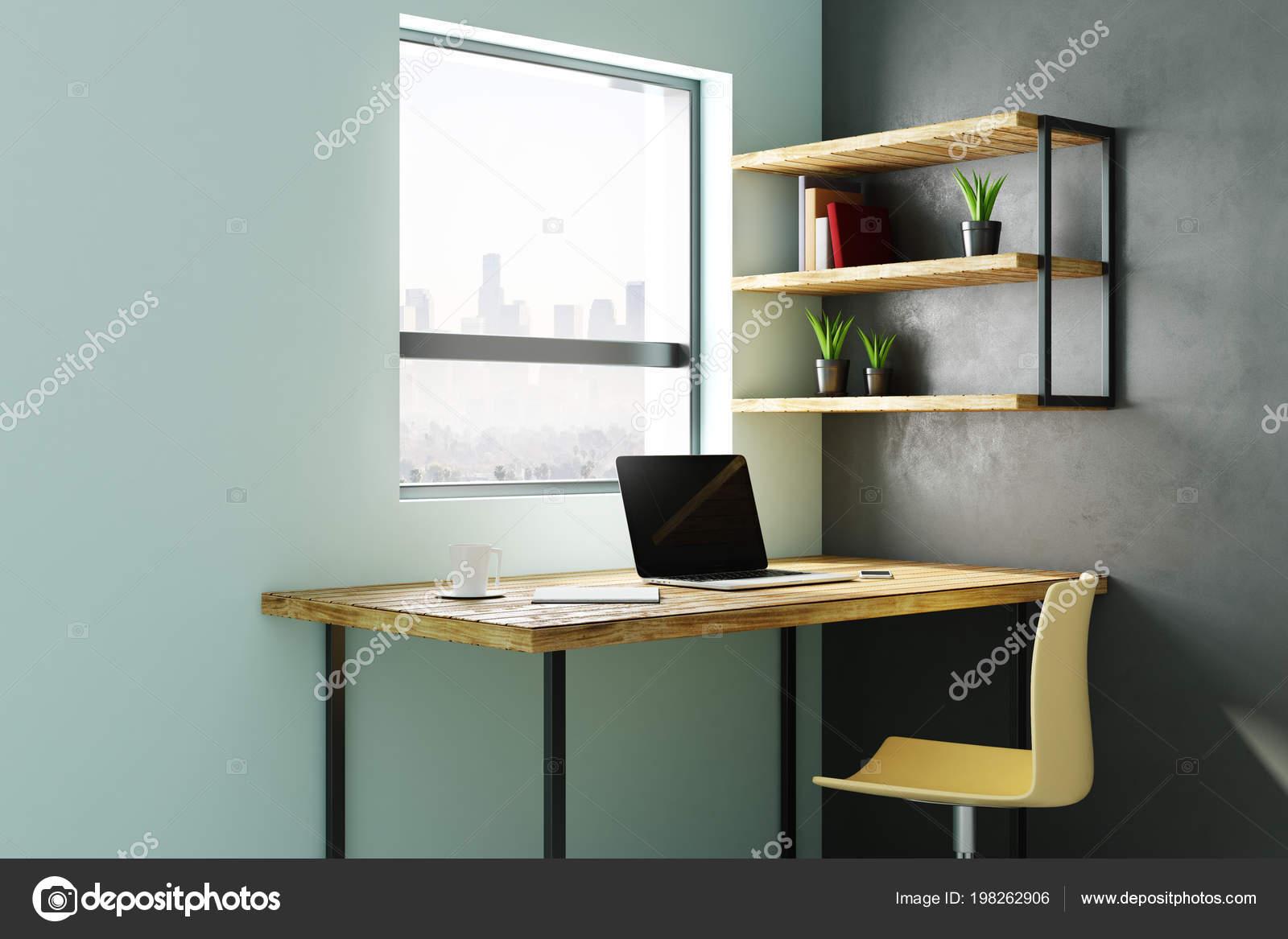 Intérieur bureau maison moderne avec milieu travail ordinateur