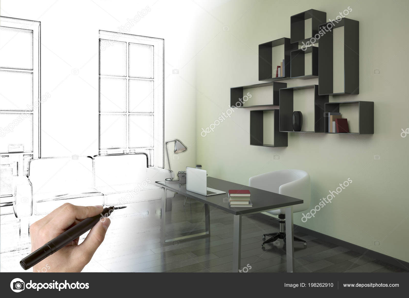Hand Drawing Modern Office Interior Design Architecture