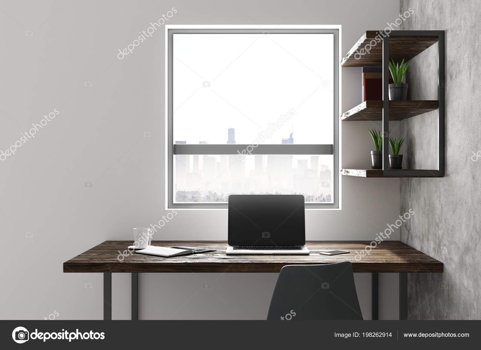 Moderne Büro Home Interieur Mit Arbeitsplatz Sauberes Notebook Möbel