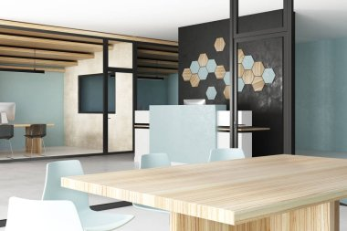 Contemporary concrete office interior with equipment. Side view, 3D Rendering