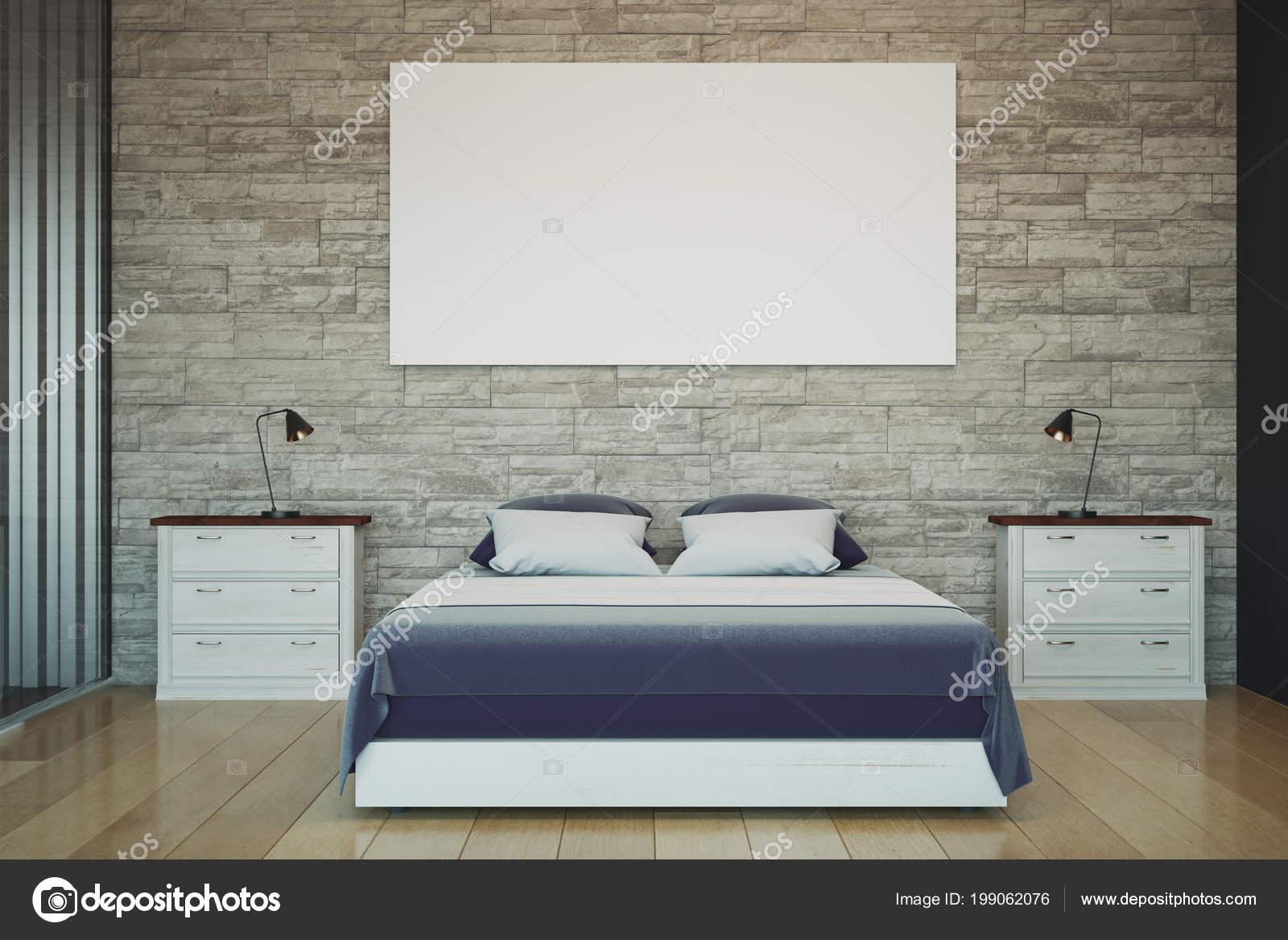Schon Moderne Schlafzimmer Innere Leere Weiße Poster Wand Konzept Design Und U2014  Stockfoto