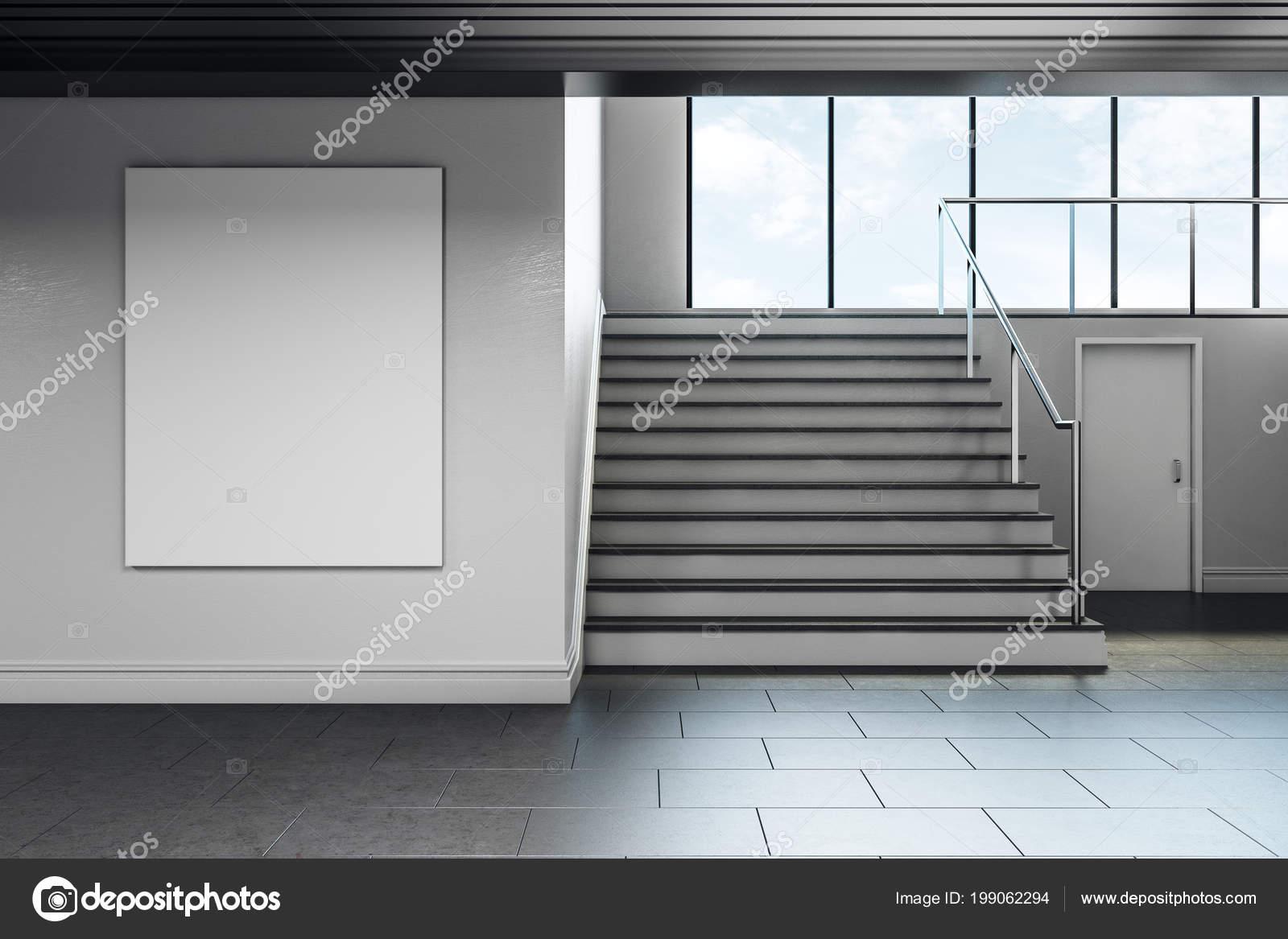 Moderne schule flur interieur mit leeren poster wand werbung