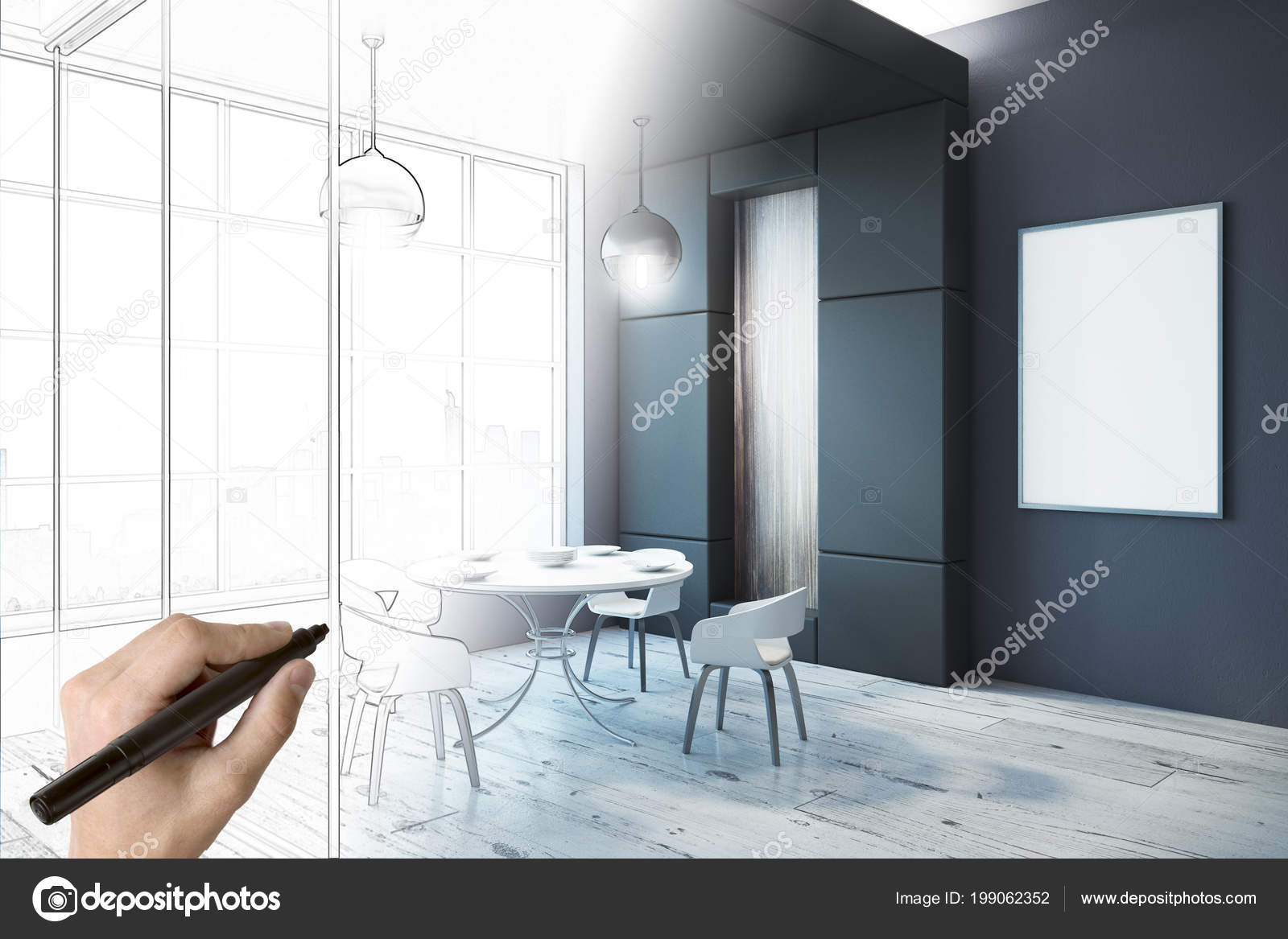 Hand Drawing Modern Dining Room Interior Sketch Empty Poster