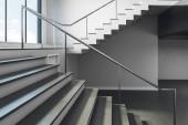 Zblízka se schodů v konkrétním interiéru s výhledem na oblohu. Koncept úspěchu a růstu. 3D vykreslování