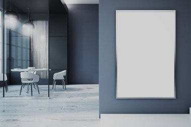 Modern dining room with empty banner, glass wall, city view and daylight. Mock up, 3D Rendering