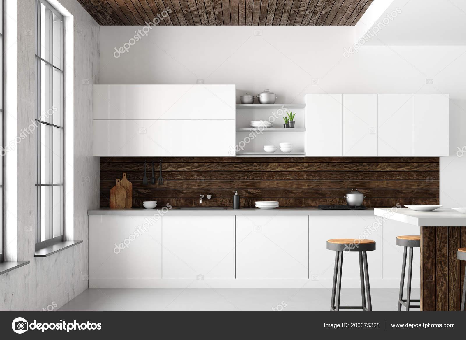 Daglicht Je Keuken : Witte loft keuken interieur met meubels apparaten uitzicht stad