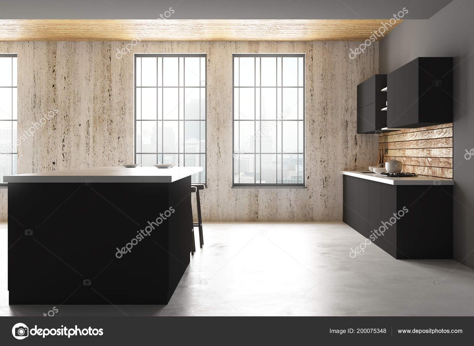 Daglicht Je Keuken : Moderne beton keuken interieur met uitzicht daglicht kopie ruimte