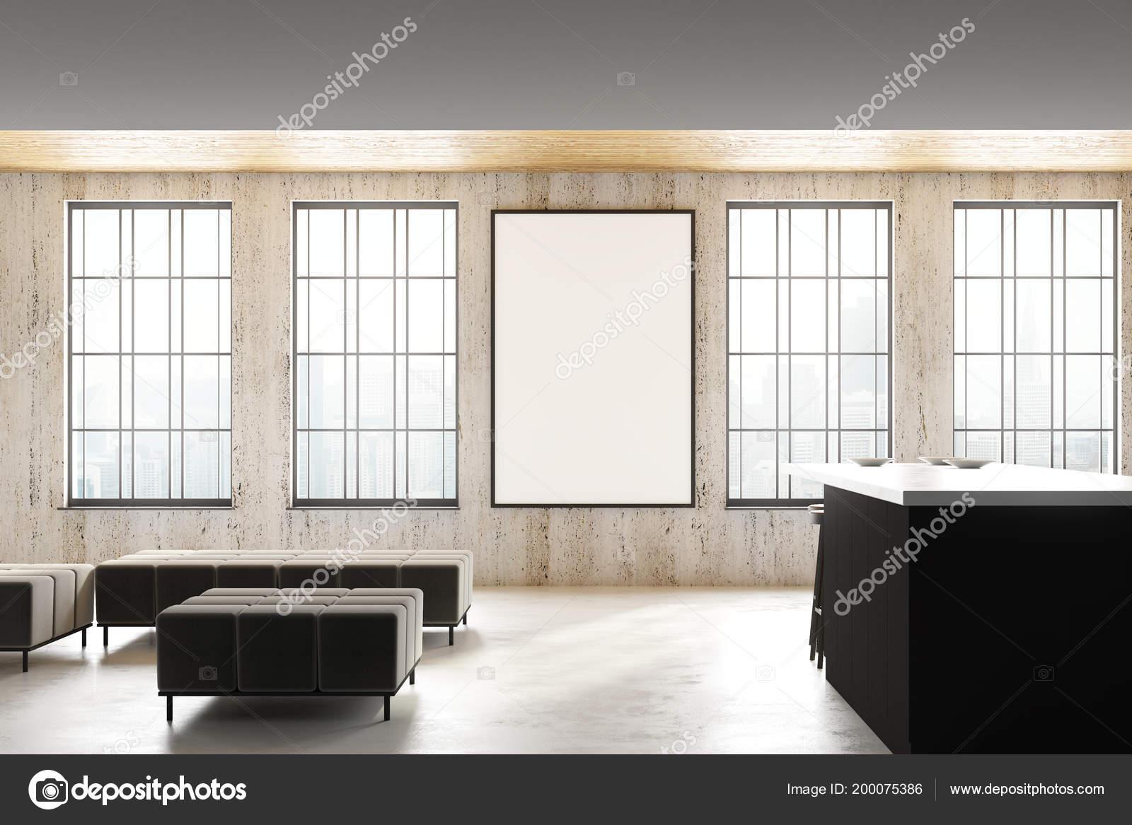 Interior Cozinha Sot O Luz Moderna Com Quadro Vazio Cartaz Janelas