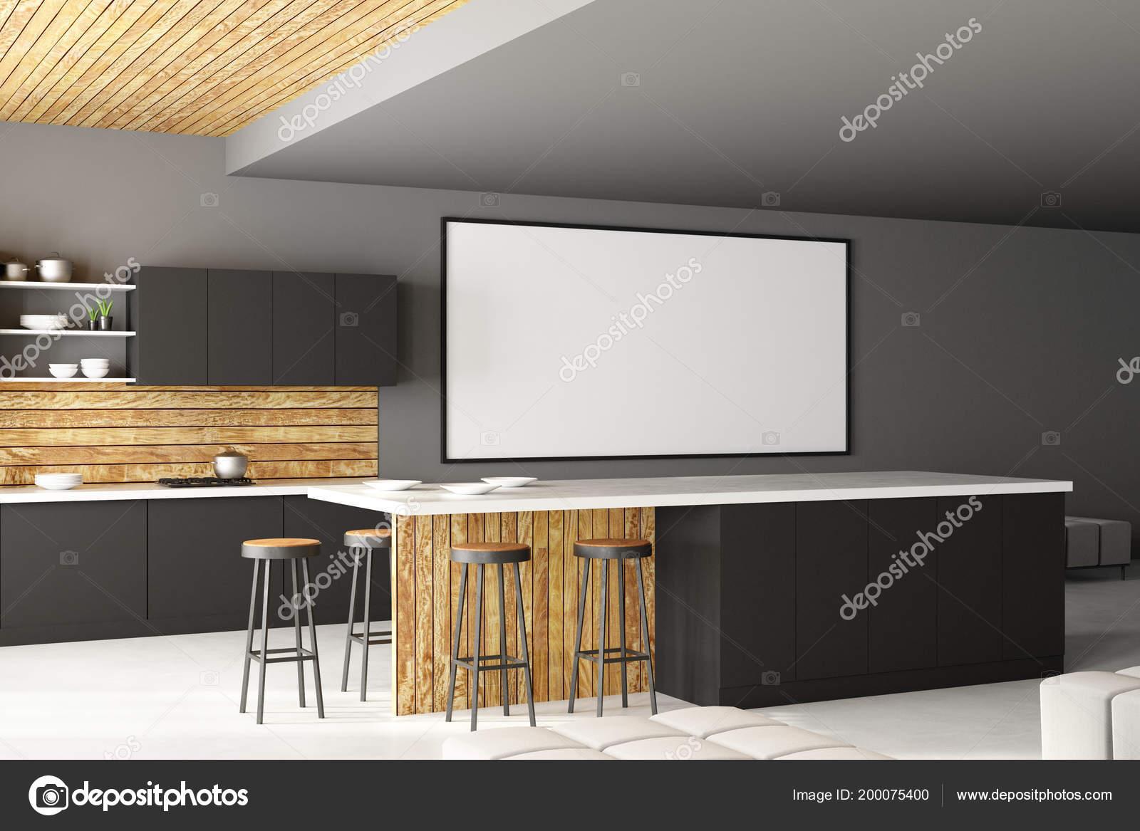 Modernes loft küche interieur mit möbeln und leere poster wand