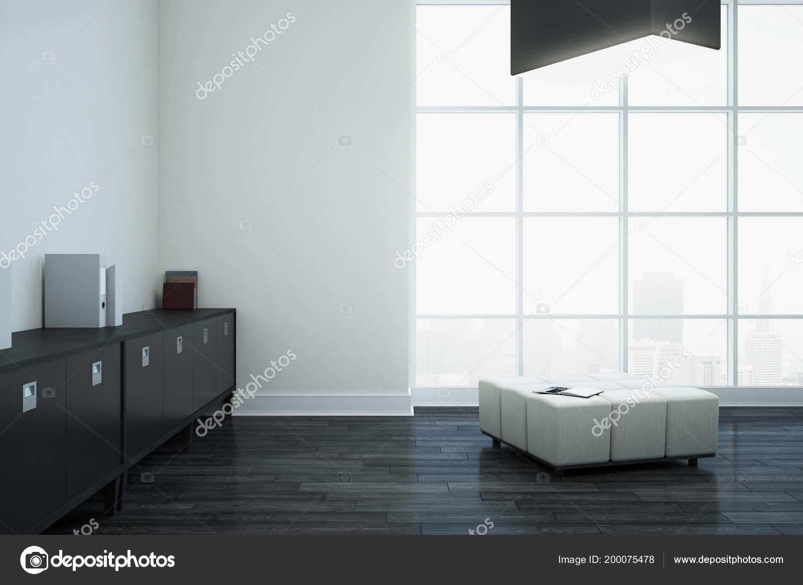 Interior Oficina Blanco Con Muebles Espacio Copia Vista Pared Ciudad