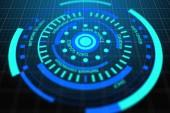 Fotografie Abstraktní kulaté digitální tlačítko. Webové bezpečnosti a sítě koncept. 3D vykreslování