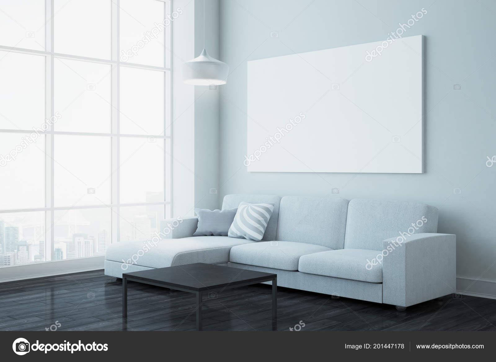Moderne wohnzimmer interieur mit blick auf die stadt möbel und