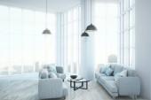 Moderní obývací pokoj interiér s nábytkem a výhledem na město. 3D vykreslování