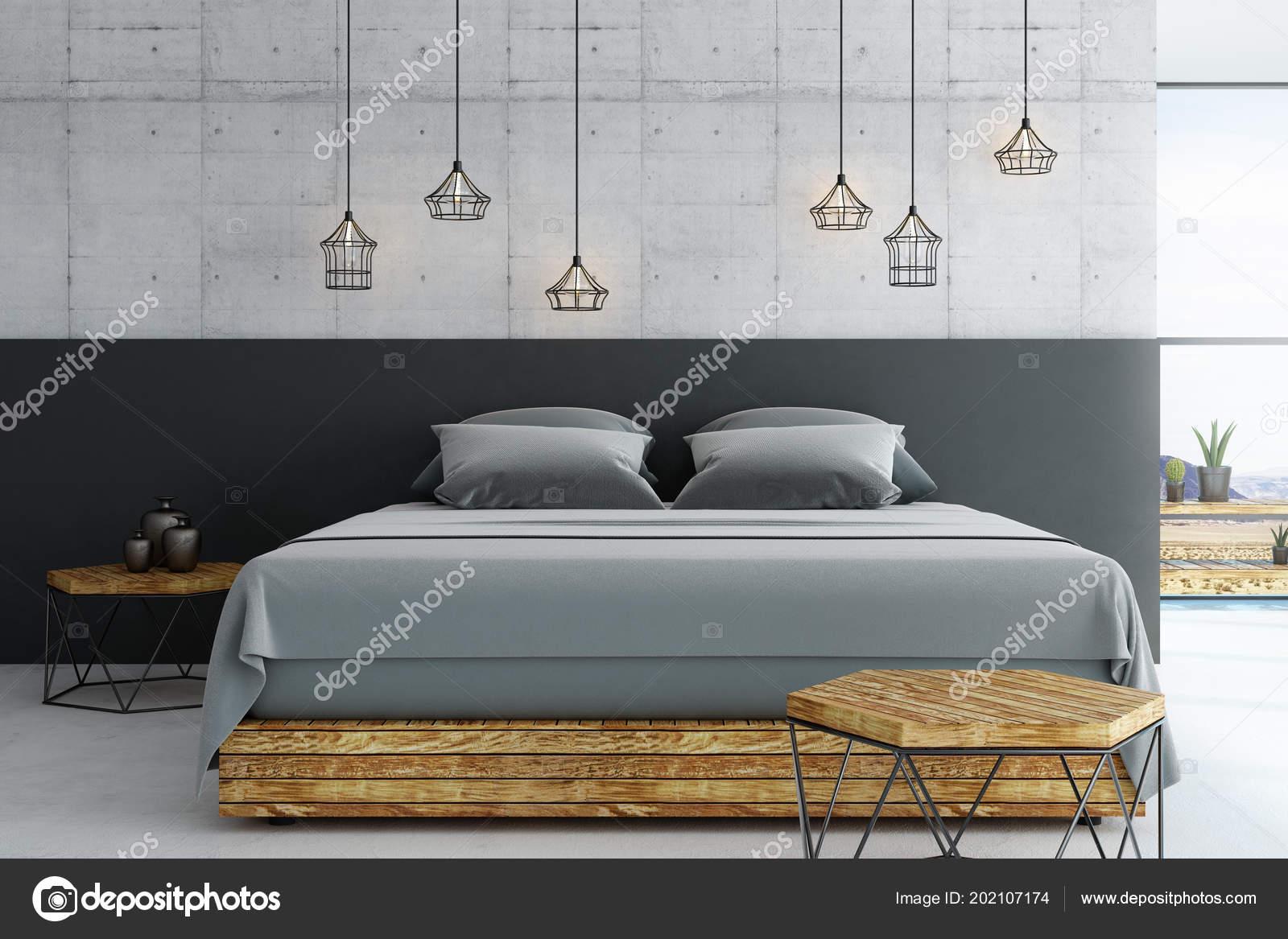 Loft Moderne Chambre Coucher Avec Plancher Béton Des Meubles Bois ...