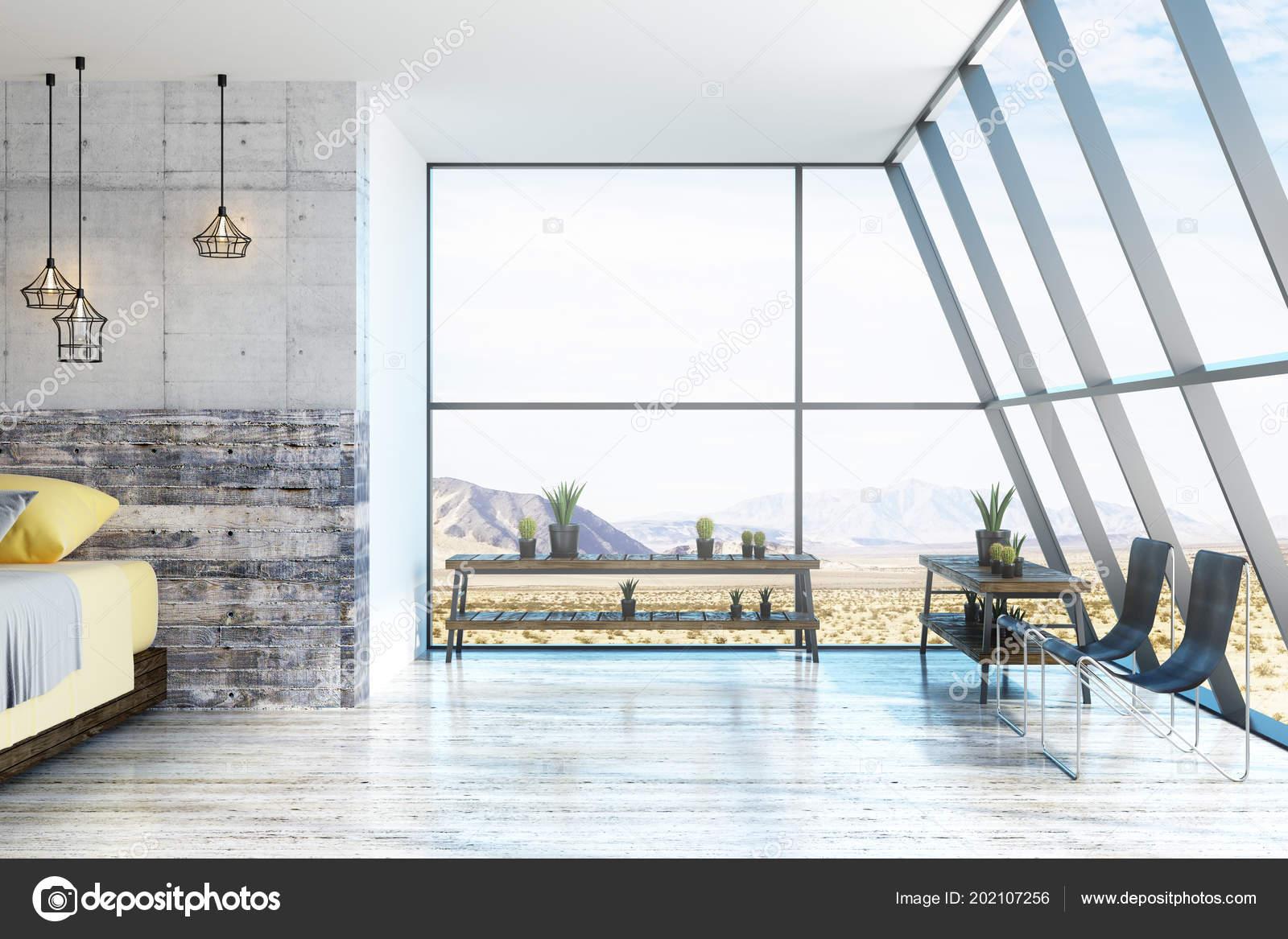 Natur Blick Aus Grossen Decke Zum Boden Fenster Innenraum Loft