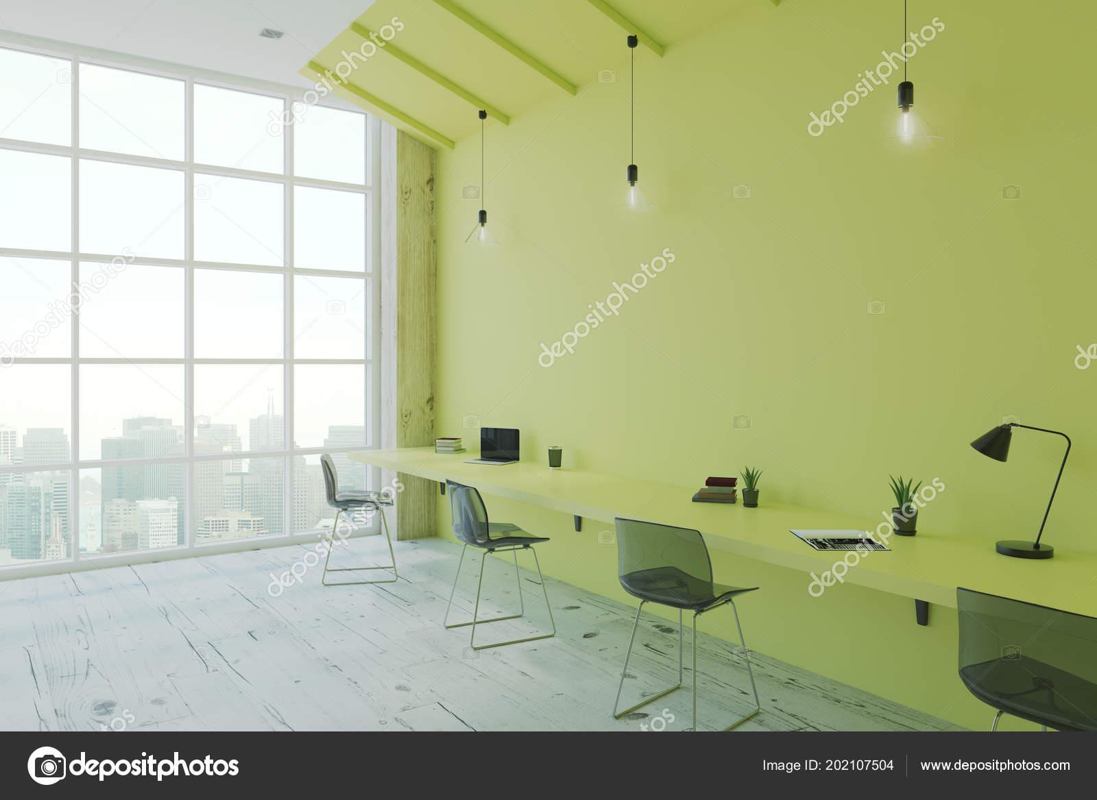 Stanza Ufficio Stile Moderno Eco Con Verde Scrivania Parete