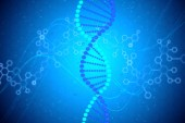 Fotografie DNA structure with chromosome spiral at blue abstract background. 3D render