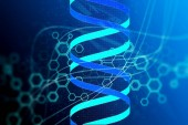 Fotografie abstract technology science concept DNA futuristic on hi tech blue background. 3D render
