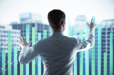 Businessman touching digital sensor screen with forex chart graphs at city background. 3D render stock vector