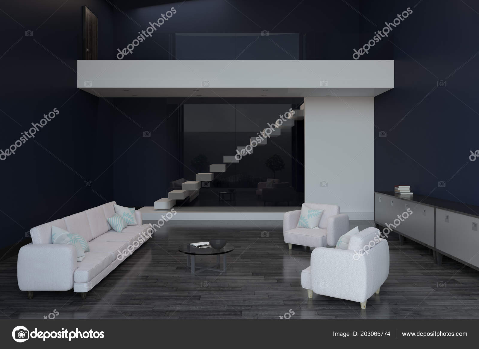 Design Moderne Salon Avec Mobilier Clair Marine Murs Plancher Bois ...